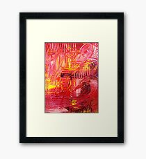THE TANGO - BOLD Bright Acrylic Beautiful Modern Abstract Painting Dance Red Yellow Framed Print
