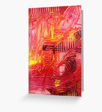 THE TANGO - BOLD Bright Acrylic Beautiful Modern Abstract Painting Dance Red Yellow Greeting Card