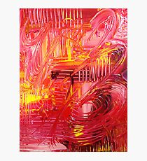 THE TANGO - BOLD Bright Acrylic Beautiful Modern Abstract Painting Dance Red Yellow Photographic Print