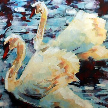 Abstract Impressionist Swans Painting by SamDurkin
