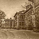Building 5 In the Snow, Overbrook Psychiatric Hospital - Sepia tones by Jane Neill-Hancock