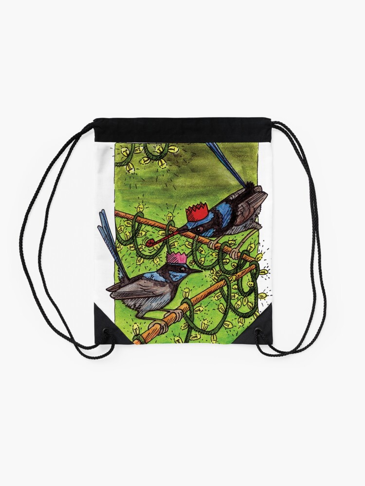 Alternate view of Fairy Wren Christmas Party Drawstring Bag