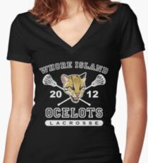 Go Ocelots! (White Fill) Women's Fitted V-Neck T-Shirt