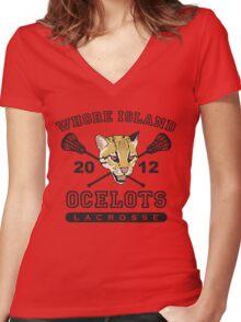 Go Ocelots! (Black Fill) Women's Fitted V-Neck T-Shirt