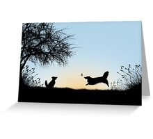 Frollicking Collies at Sunset Greeting Card