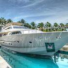 Yacht docked at Atlantis Marina in Paradise Island, The Bahamas by Jeremy Lavender Photography