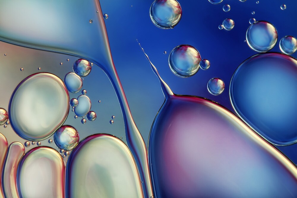 Midnight Blue Bubble Abstract by Sharon Johnstone