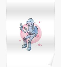 Blue Space Man Poster