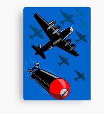 World War Two Bomber Airplanes Drop Bomb Retro Canvas Print