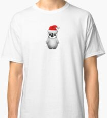 Baby Penguin Wearing a Santa Hat on Blue Classic T-Shirt