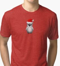 Baby Penguin Wearing a Santa Hat on Blue Tri-blend T-Shirt