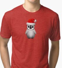 Baby Penguin Wearing a Santa Hat  Tri-blend T-Shirt