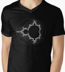 White - Linear Mandelbrot Men's V-Neck T-Shirt