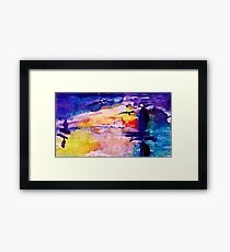 Abstract sunset at sea, watercolor Framed Print