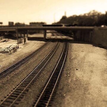 Railroad Tracks, Kansas City Tilt-Shift, Sepia by PhotosByTrish