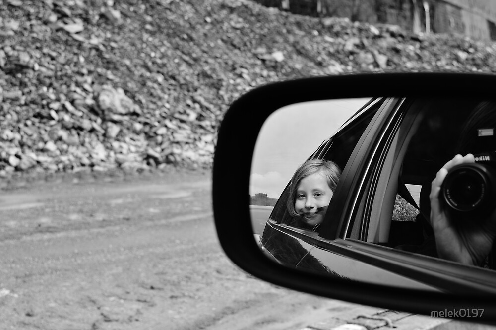 Child's reflection in car mirror by melek0197