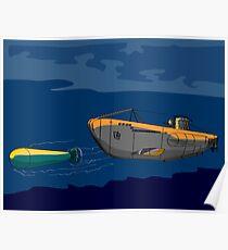 Submarine Boat Retro Poster