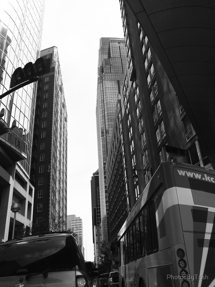 Street View of Tall Buildings, Black and White by PhotosByTrish