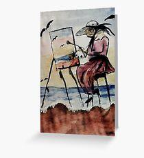 The plein air artist, watercolor Greeting Card