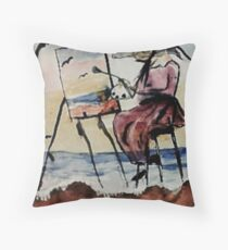 The plein air artist, watercolor Throw Pillow