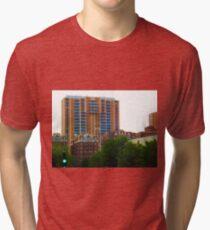 Tall Buildings on Brush Creek Tilt Shift Tri-blend T-Shirt