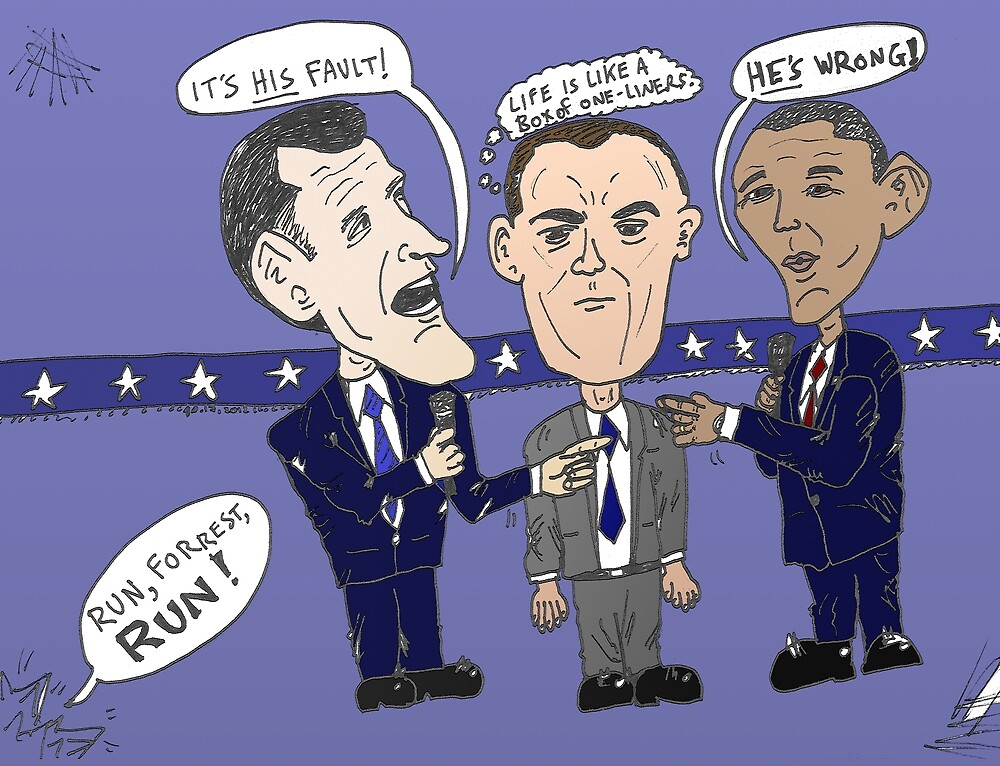 Editorial cartoon of Romney, Gump and Obama by Binary-Options