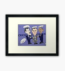 Editorial cartoon of Romney, Gump and Obama Framed Print