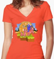 Mister Stampy Cat and Ballistic Squid riding piggies Women's Fitted V-Neck T-Shirt