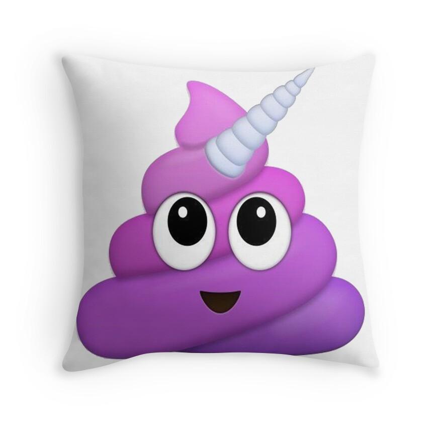 Quot Purple Unicorn Poop Emoji Quot Throw Pillows By Winkham
