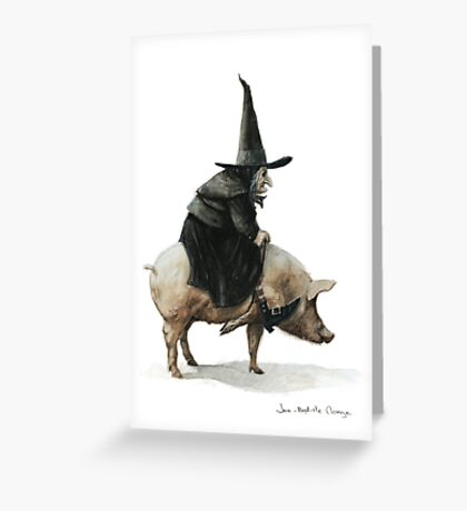 Witch on a Pig Greeting Card