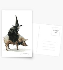 Witch on a Pig Postcards