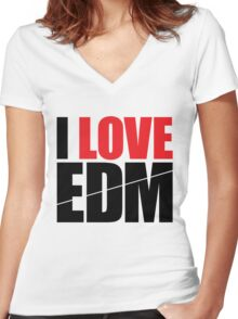 I Love EDM (Electronic Dance Music)  [black] Women's Fitted V-Neck T-Shirt