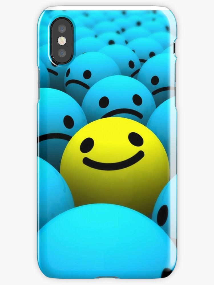 Yellow Smiling Emoji In A Crowd Of Blue Sad Emojis By Winkham