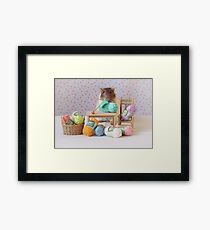 Snoozy wanted to knit ! Framed Print