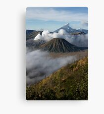 Steam erupts from Bromo and Semeru volcanic vents. Canvas Print