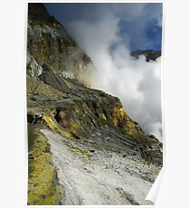 Crater wall of the White Island volcano. NZ Poster