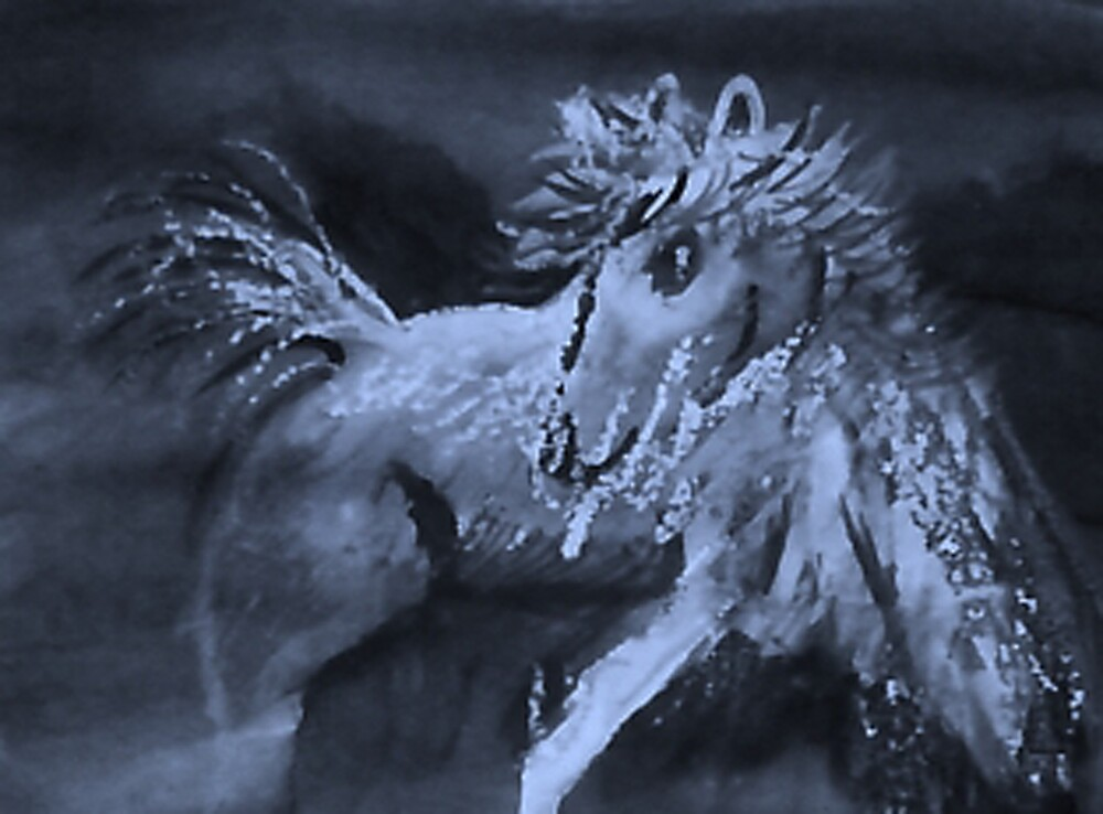 Spooked horse, its that time of year, watercolor by Anna  Lewis, blind artist