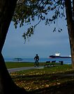 Biker at English Bay by Yukondick