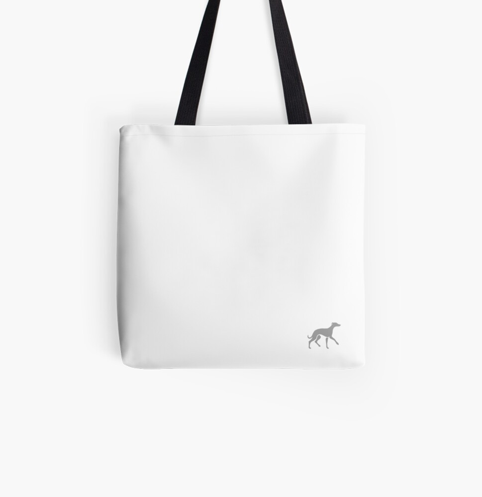Grey Whippet On White Design All Over Print Tote Bag