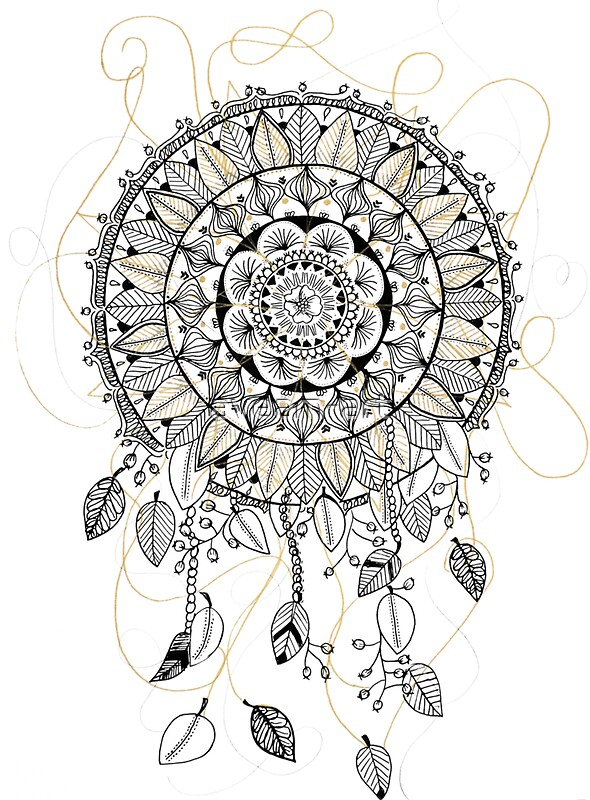 mandala dreamcatcher attrape r ve stickers by aveam art. Black Bedroom Furniture Sets. Home Design Ideas