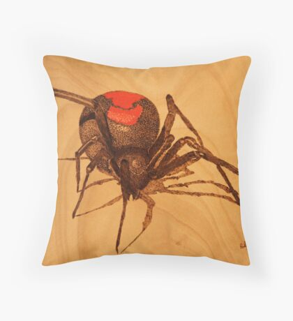 Pyrography: Australian Redback Spider Throw Pillow