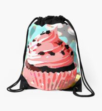 Chocolate Cupcakes with Pink Buttercream Drawstring Bag