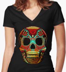 Camiseta entallada de cuello en V Grunge Skull No.2