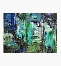 AQUATIC COMMOTION in Color - Textural Ocean Beach Nautical Abstract Acrylic Painting Wow Winter Xmas Photographic Print