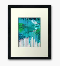 BLUE MONSOON - Stunning Rain Storm Dark Teal Clouds Vancouver Navy Royal Blue Kelly Green Crimson Red Purple Framed Print