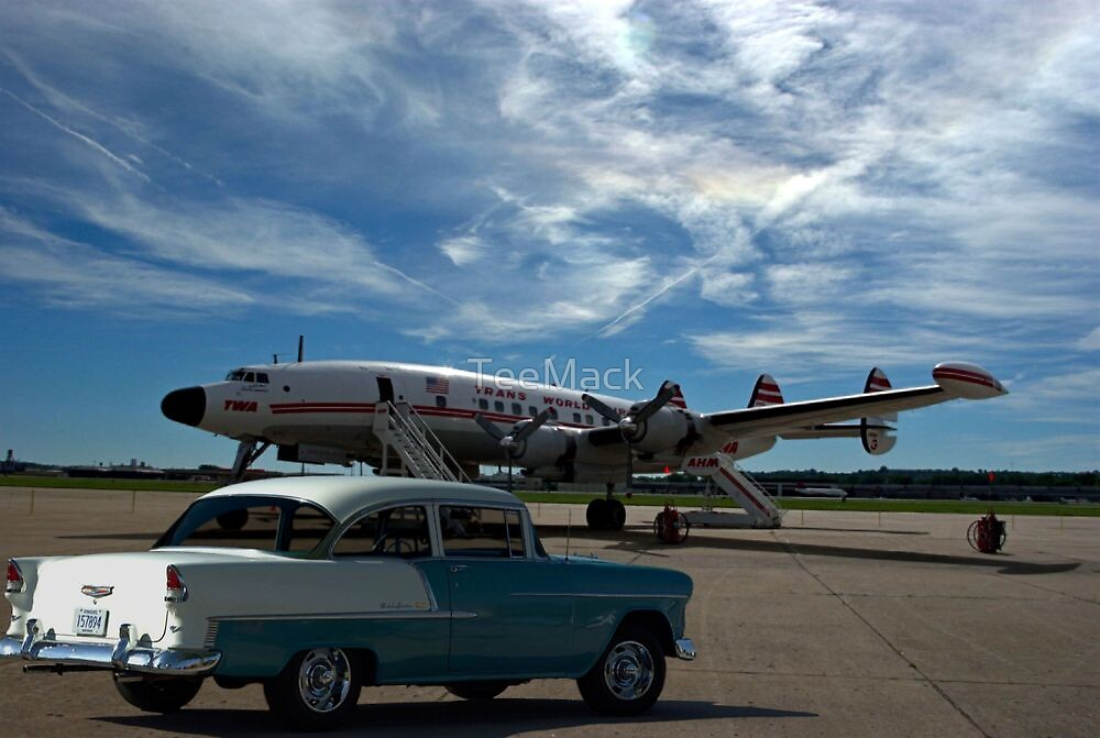 1955 Chevy and Lockheed Constellation Super G Airplane by TeeMack
