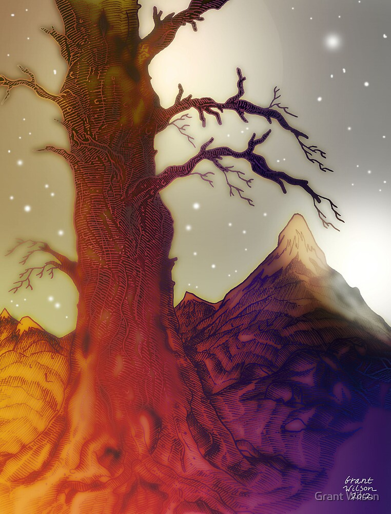 Fantasy Tree Pen Drawing by Grant Wilson