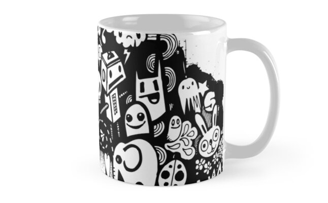 Spray Paint Doodle Mugs By Wottoart Redbubble