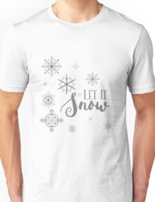 Elegant White and Gray Let it Snow Abstract snowflakes T-Shirt