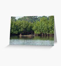 Gambian Woman paddling pirogue Greeting Card